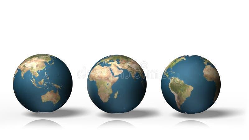 Kugel 3D, die Erde mit allen Kontinenten, lokalisiert auf weißem Hintergrund zeigt stock abbildung
