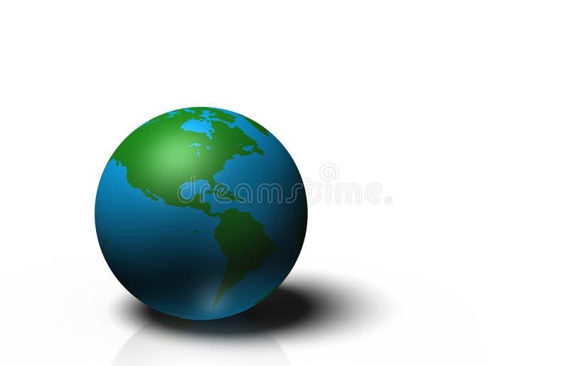 Kugel 3D, die Erde mit den Kontinenten, lokalisiert auf weißem Hintergrund zeigt stock abbildung