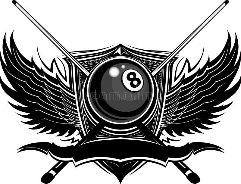 Kugel der Billiard-acht mit aufwändigen Flügeln vektor abbildung
