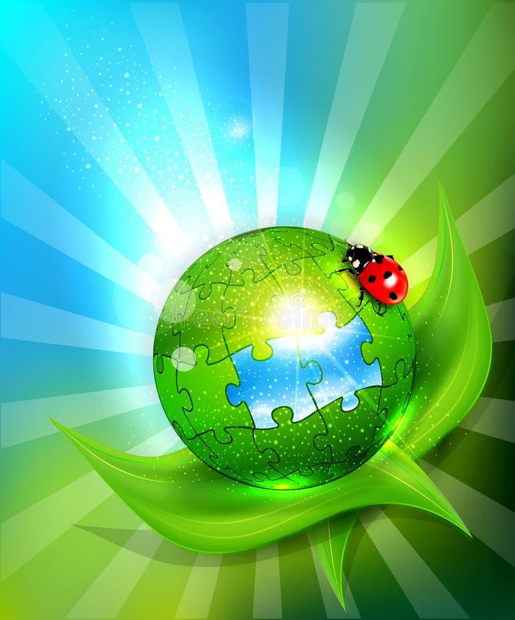 Kugel der Puzzlespiele, die auf grünem Blattesprit liegen lizenzfreie abbildung
