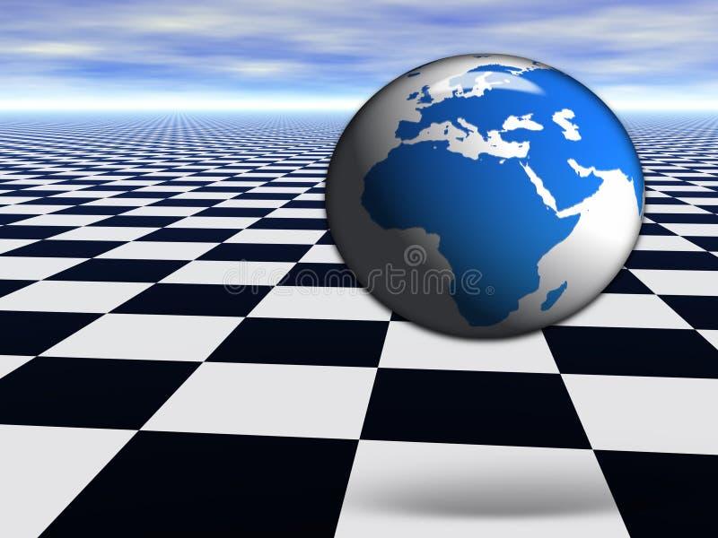 Kugel der Welt 3D, die auf abstrakten Schachfußboden springt vektor abbildung