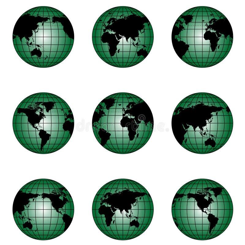 Kugel der Welt in der unterschiedlichen Stellung lizenzfreie abbildung