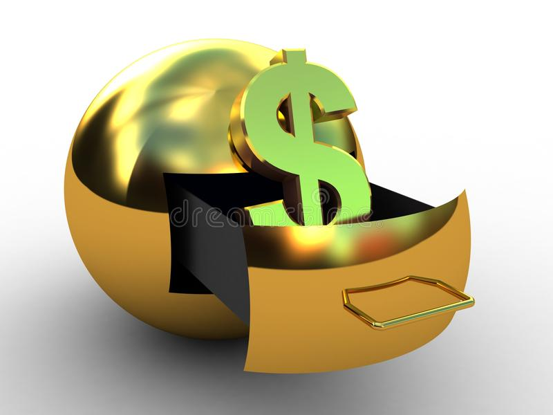 Kugel des Dollargoldes lizenzfreie abbildung
