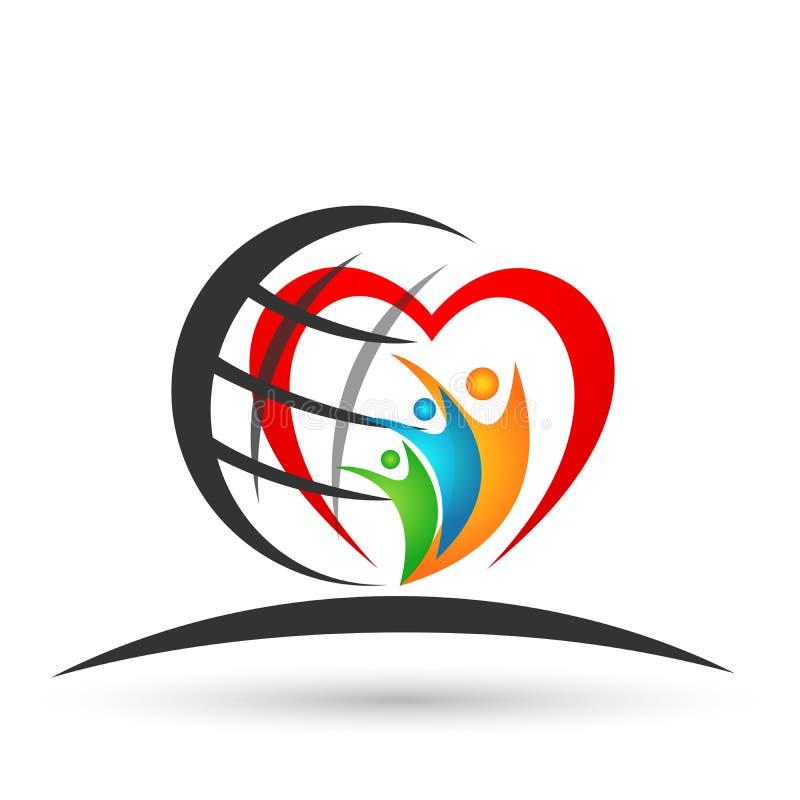 Kugel-Familie in Verbandslogofamilienelternteilkindergrünen Liebe des Herzens sorgfaltsymbolikonen-Entwurfsvektor der glücklichen lizenzfreie abbildung