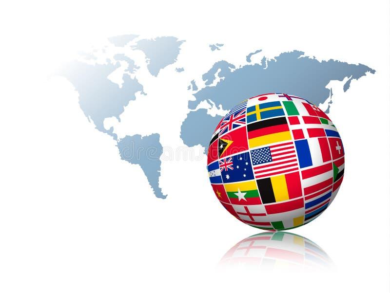 Kugel gemacht aus Flaggen heraus auf einem Weltkartehintergrund lizenzfreie abbildung