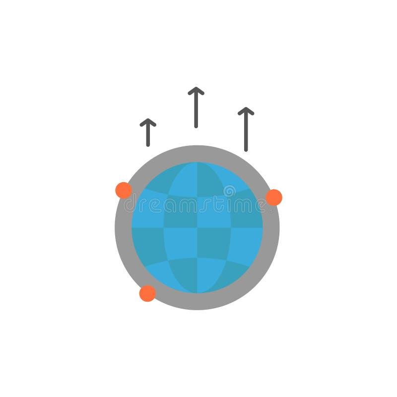Kugel, Geschäft, Kommunikation, Verbindung, global, Weltflache Farbikone Vektorikonen-Fahne Schablone stock abbildung