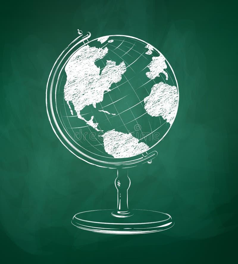 Kugel gezeichnet auf grüne Tafel stock abbildung