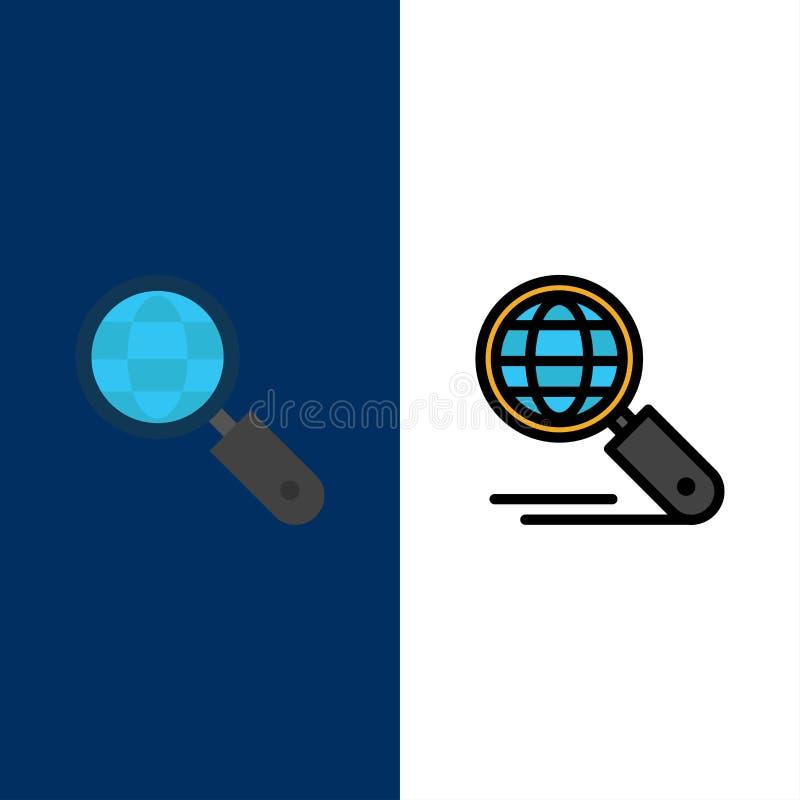 Kugel, Internet, Suche, Seo Icons Ebene und Linie gefüllte Ikone stellten Vektor-blauen Hintergrund ein vektor abbildung