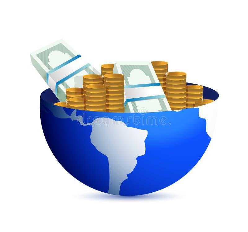Kugel mit Bargeld nach innen globale Gewinne vektor abbildung