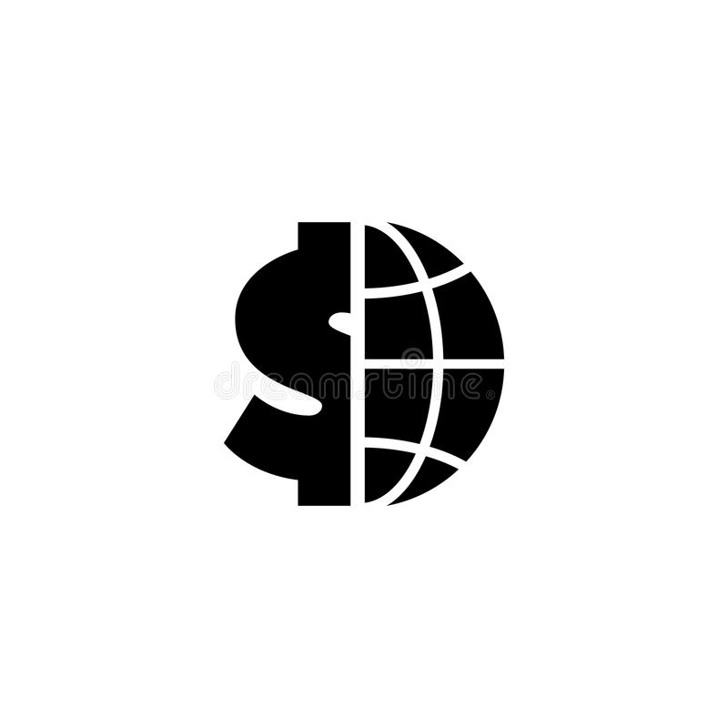 Kugel mit Dollar-flacher Vektor-Ikone vektor abbildung