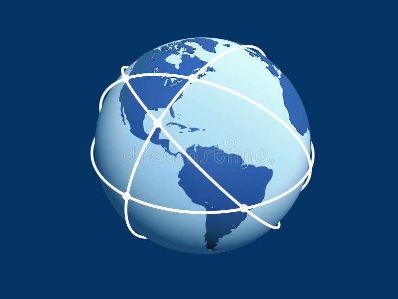 Kugel mit Netz auf blauem Hintergrund. lizenzfreie abbildung