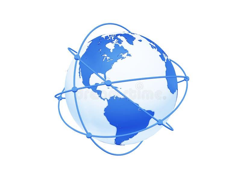 Kugel mit Netz auf weißem Hintergrund. stock abbildung