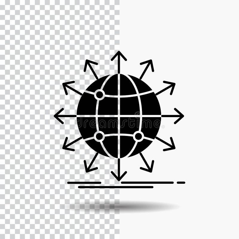 Kugel, Netz, Pfeil, Nachrichten, weltweite Glyph-Ikone auf transparentem Hintergrund Schwarze Ikone vektor abbildung