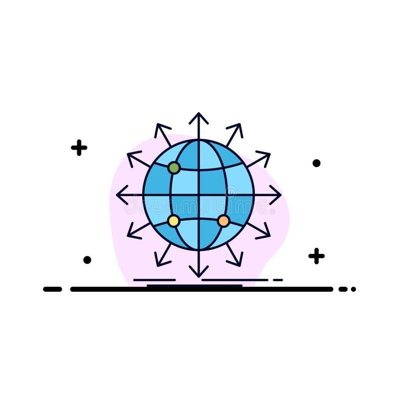 Kugel, Netz, Pfeil, Nachrichten, weltweiter flacher Farbikonen-Vektor lizenzfreie abbildung