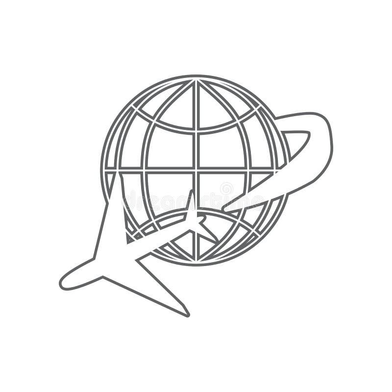 Kugel- und Fl?chenreiseikone Element des Flughafens f?r bewegliches Konzept und Netz Appsikone Entwurf, d?nne Linie Ikone f?r Web lizenzfreie abbildung