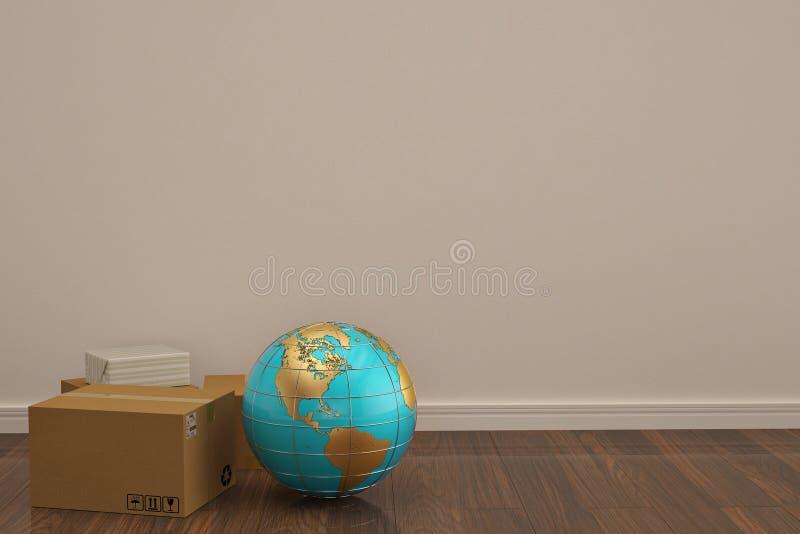 Kugel und Karton auf Illustration des Bretterbodens 3D stock abbildung