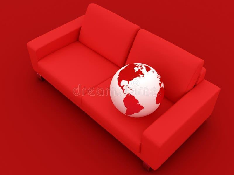 Kugel und rotes Sofa lizenzfreie abbildung