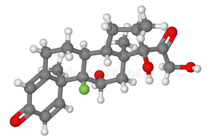 Kugel- und Steuerknüppelbaumuster des dexamethasone Moleküls lizenzfreie stockfotos