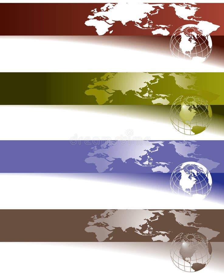 Kugel- und Weltkartenfahnen stock abbildung
