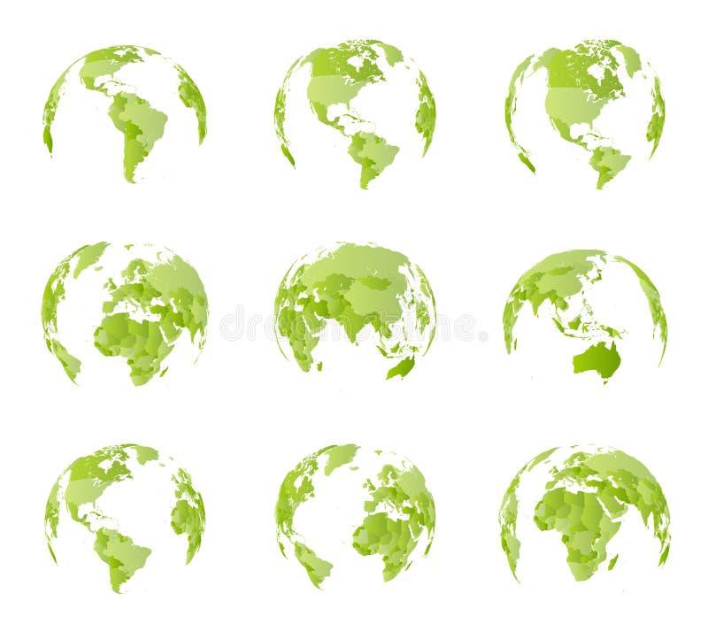 Kugel, unterschiedliche Seitenansicht Alle Landgrenzen auf Weltpolitischer Karte Ost- und westliche Hemisphäre Alle Weltseiten stock abbildung