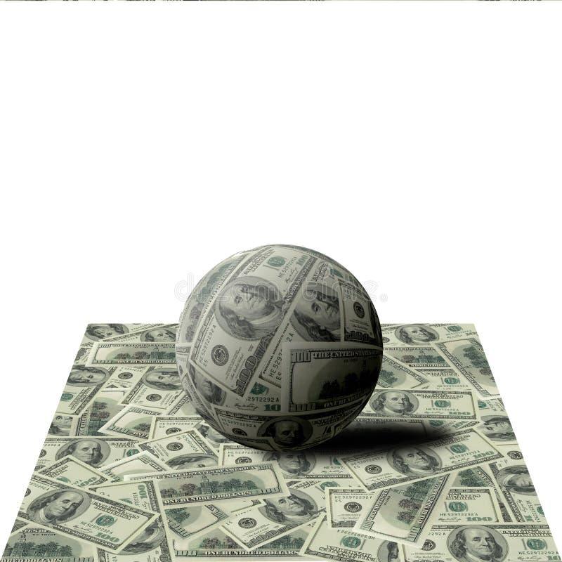 Kugel von den Banknoten auf 100 Dollar lizenzfreie stockfotografie