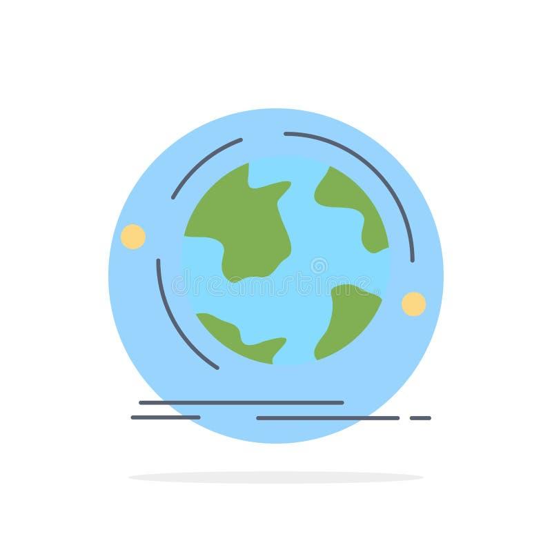 Kugel, Welt, entdecken, Verbindung, Netz flacher Farbikonen-Vektor lizenzfreie abbildung
