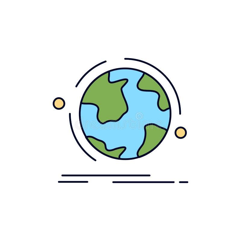 Kugel, Welt, entdecken, Verbindung, Netz flacher Farbikonen-Vektor vektor abbildung