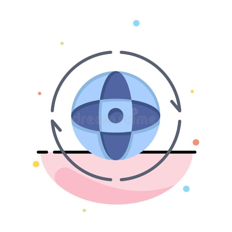 Kugel, Welt, Erde, Atom, schließen Geschäft Logo Template an flache Farbe lizenzfreie abbildung