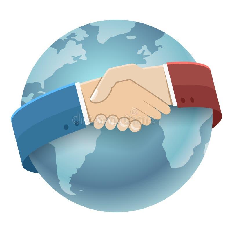 Kugel-Weltkarte-internationaler Partnerschafts-Ikonen-Geschäftsmann-Handshake Symbol Background lokalisierter flacher Design-Vekt stock abbildung