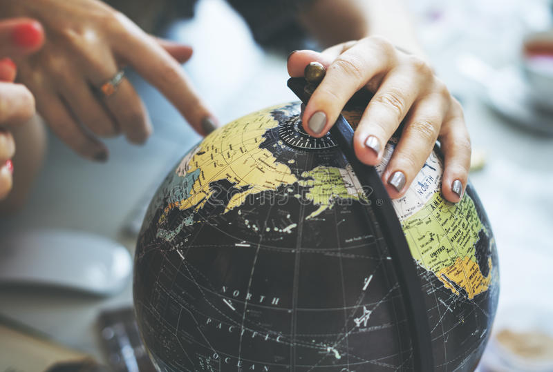 Kugel-Weltkarte-Reise erforschen Bestimmungsort-Konzept stockfoto
