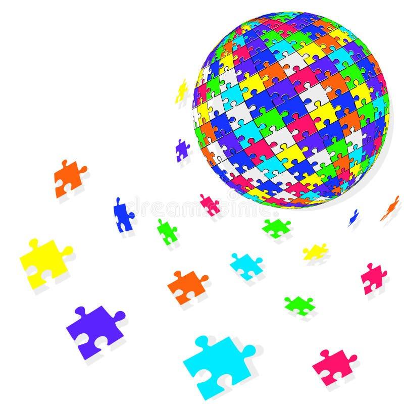 Kugelauslegung des Puzzlespiels 3d Auch im corel abgehobenen Betrag stockfoto