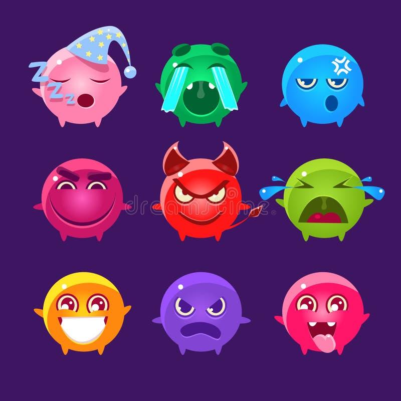 Kugelförmige Charaktere unterschiedlichen Farbe-Emoji-Satzes vektor abbildung