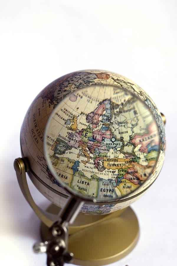 Kugelfokus auf Europa stockbild