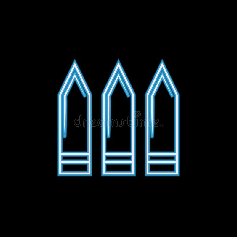Kugelikone in der Neonart Ein der Militärsammlungsikone kann für UI, UX verwendet werden stock abbildung