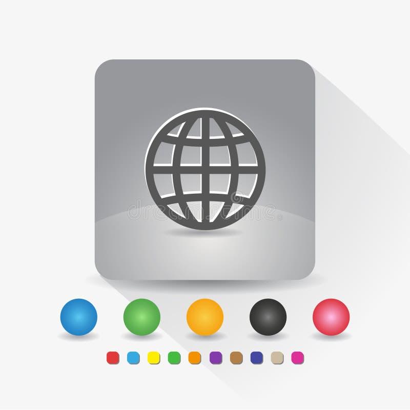 Kugelikone Zeichensymbol App in der runden Ecke der grauen quadratischen Form mit langer Schattenvektorillustration und Farbschab stock abbildung