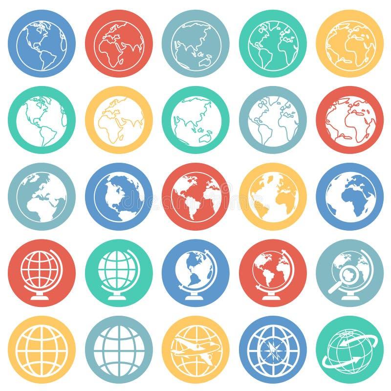 Kugelikonen auf Farbkreishintergrund für Grafik und Webdesign, modernes einfaches Vektorzeichen Hintergrund der blauen Farbe Modi stock abbildung
