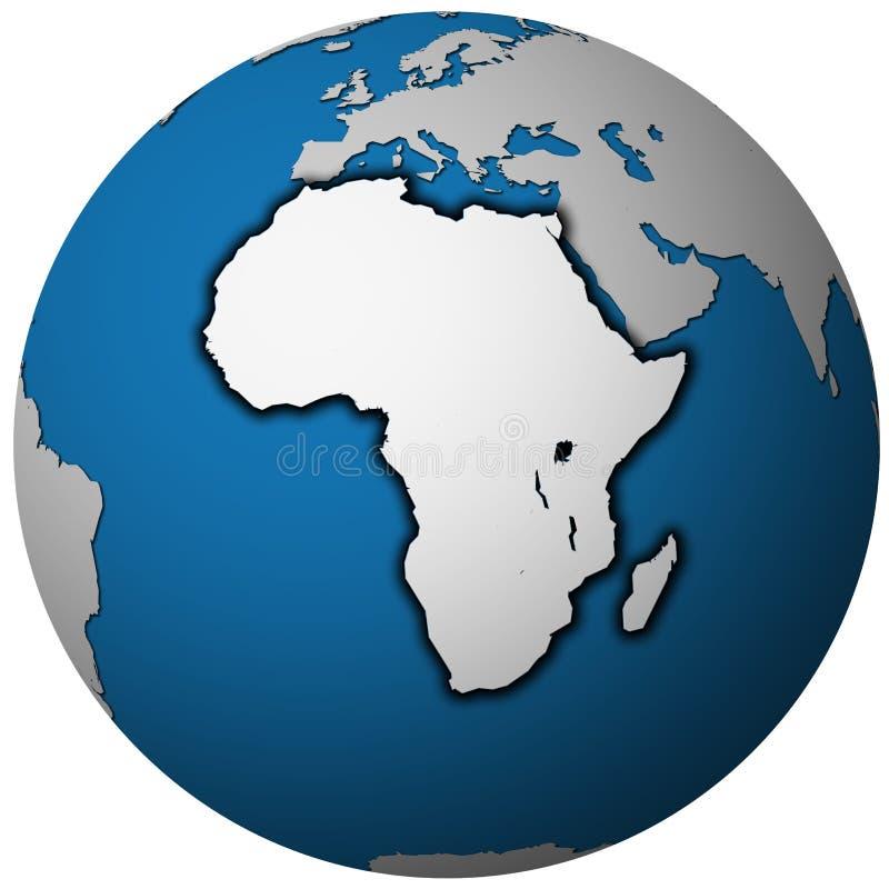 Kugelkarte mit Gebiet von Afrika-Kontinent stock abbildung