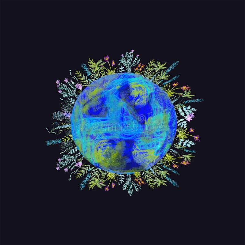 Kugelkonzept, das einen Grün-, ruhigen und idyllischenLebensstil in der Welt in einer Karikaturart zeigt lizenzfreie abbildung