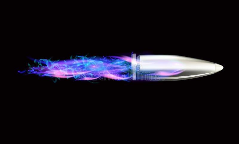 Kugeln, die in die blaue Flamme fliegen stock abbildung