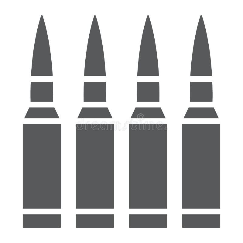 Kugeln Glyphikone, Munition und Armee, Kaliberzeichen, Vektorgrafik, ein festes Muster auf einem weißen Hintergrund vektor abbildung