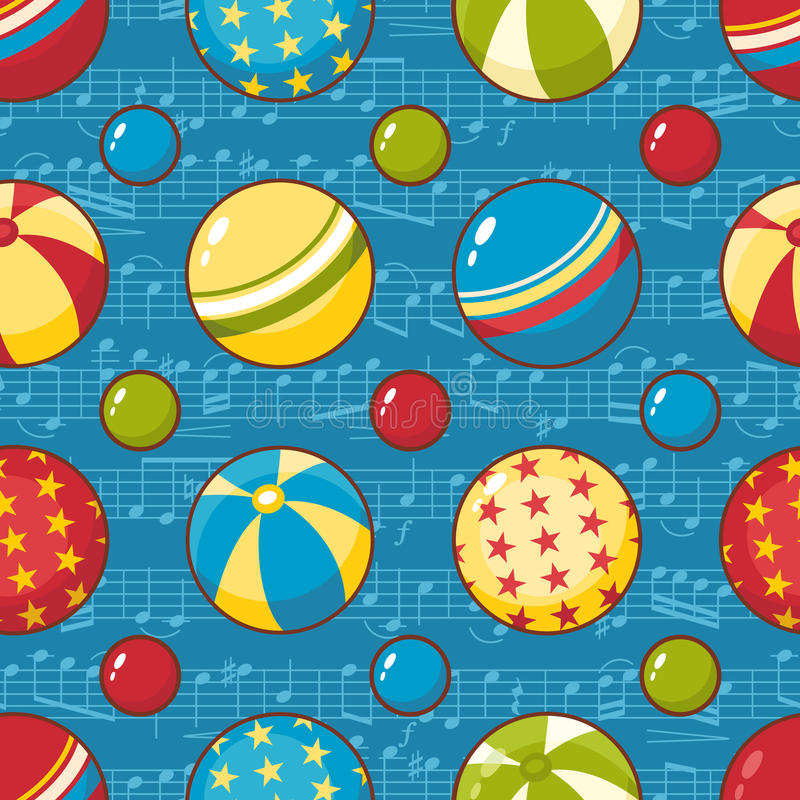 kugeln Kind-` s Spielzeug Nahtloses Muster vektor abbildung