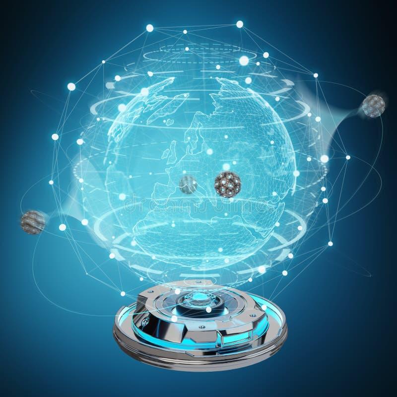 Kugelnetz-Hologrammprojektor mit digitaler Verbindung 3D zerreißen lizenzfreie abbildung