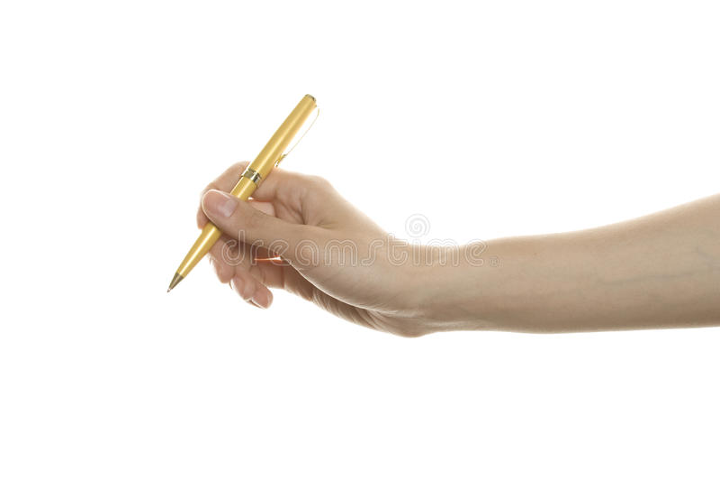 Kugelschreiber in der Hand lizenzfreies stockbild