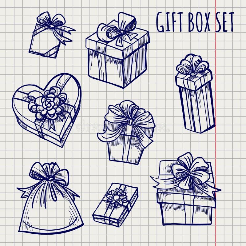 Kugelschreiberskizze von Geschenkboxen stock abbildung