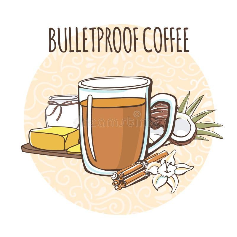 Kugelsicherer Kaffee Vektorillustration eines gebutterten Koffeinketon-Getränks und seiner Bestandteile: Kokosnussöl und Butter lizenzfreie abbildung