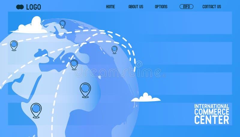 Kugelvektor-Webseitenflugzeug, das um Weltflugzeugflug-Transportfliegen zur Flughafenillustration reist vektor abbildung