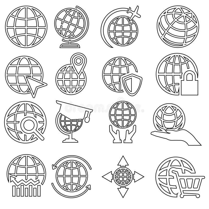 Kugelvektorikonen eingestellt Weltkarteikonenillustration, Logo des globalen Geschäfts, internationales Kommunikationssymbol vektor abbildung