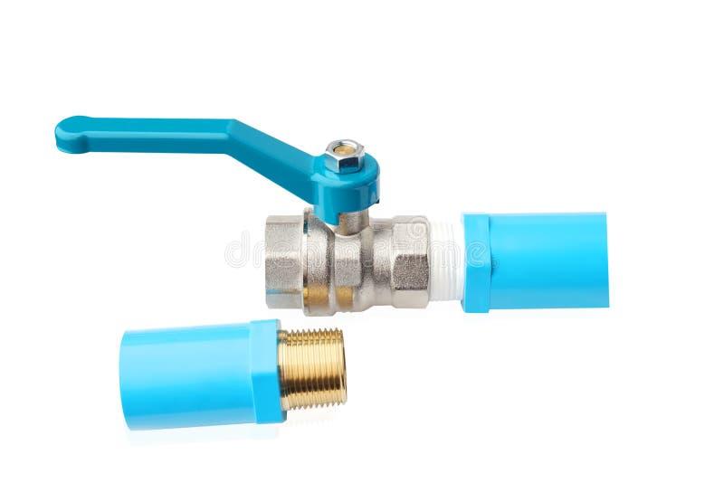Kugelventile, Stahlbereichventil oder überzogenes Messingkugelventil und p vernickeln V c-Koppelung, verlegte Gelenke außerhalb d lizenzfreie stockfotos