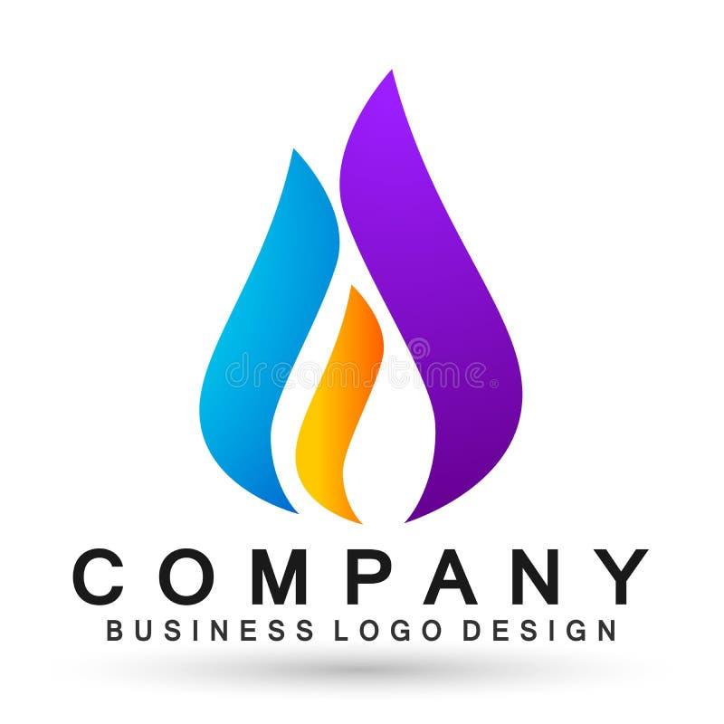 Kugelweltflammenhände interessieren sich Logowasserrückgangslogosymbol-Ikonennatur fallenläßt Elementvektorentwurf auf weißem Hin lizenzfreie abbildung