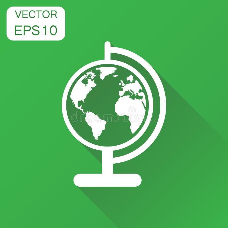 Kugelweltkarteikone Rundes Piktogramm des Geschäftskonzeptes Erd VE vektor abbildung